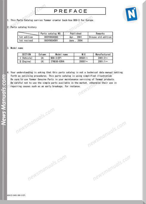 Yanmar Crawler Backhoe B08-3 Parts Manual