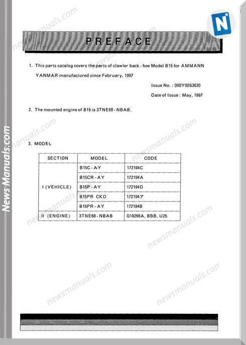Yanmar Crawler Backhoe B15 For Ammann Parts Manuals