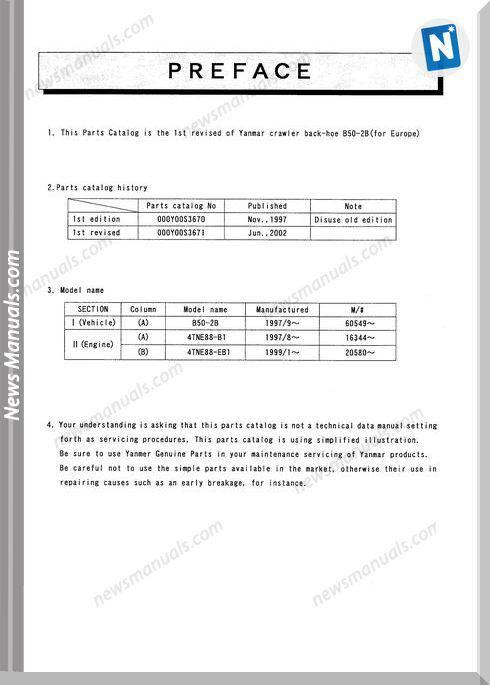 Yanmar Crawler Backhoe B50-2B For Europe Parts Catalog