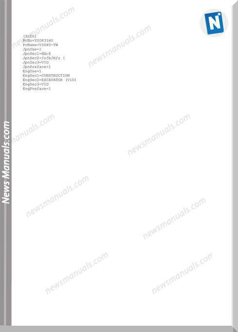 Yanmar Crawler Backhoe Vio40-Tw Parts Manuals