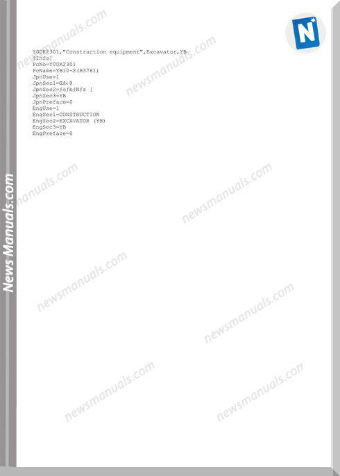 Yanmar Crawler Excavator Yb10-2 Parts Manuals