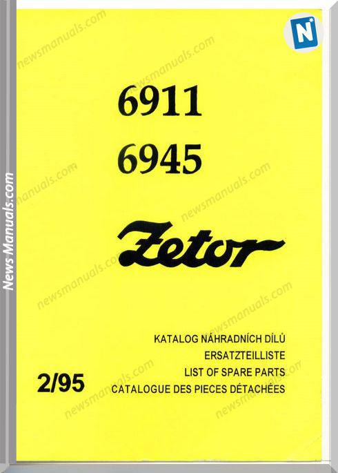 Zetor 6911-6945 Parts Catalogue 02.95