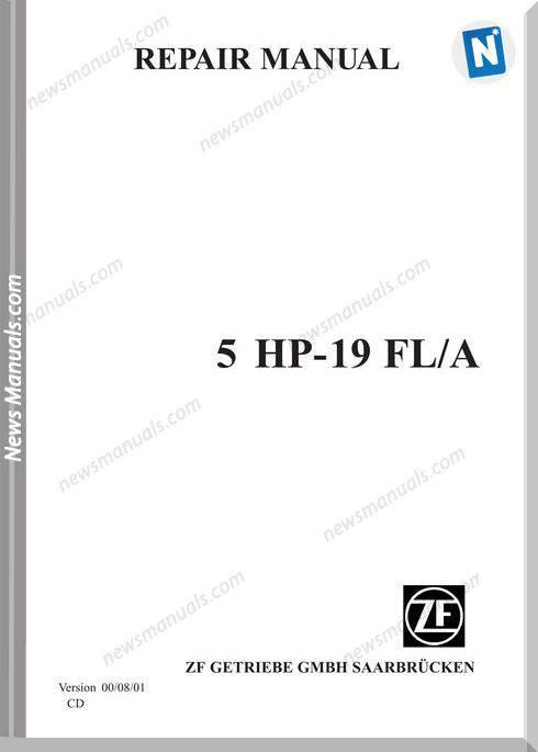 Zf 5Hp 19Fl-A Models English Language Repair Manual