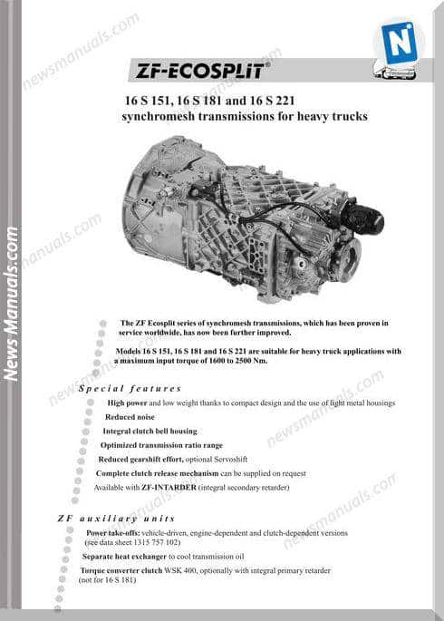 Zf Ecosplit 16S151 181 221 1315 757 101F Technical Data