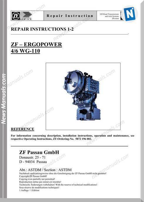 Zf Ergopower 4-6 Wg-110 E Repair Manual