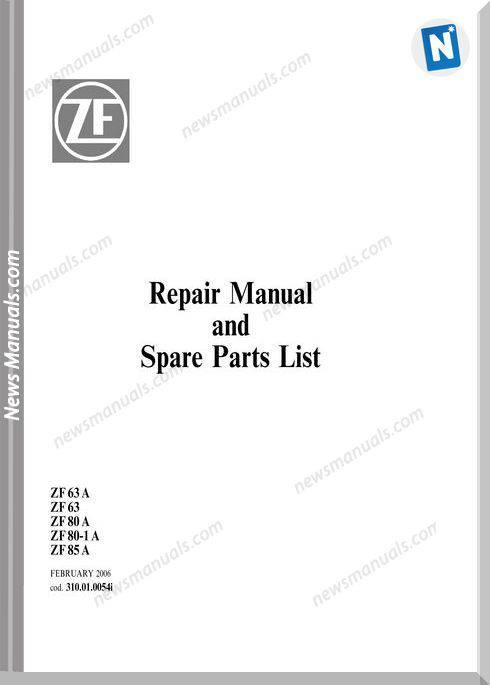 Zf Zf63A Zf 63 Zf80A Zf 80-1 A Zf85A Parts Catalogue