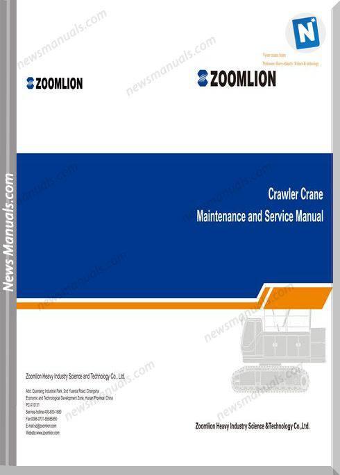 Zoomlion Crawler Crane Zcc800Hwg Maintenance Manual