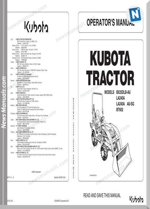 kubota-tractor-bx25dlb-la240-bt602-workshop-manual-21430k410301-page1
